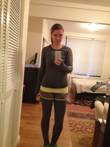 Me in my long sleeve. Note the gray-on-grays. Please do not use this look for high visibility.